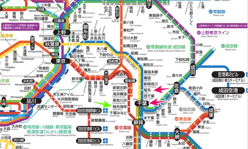 画像東京・千葉近辺のJR路線図